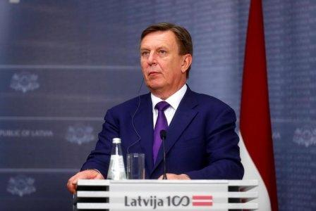 Latvia's Prime Minister Maris Kucinskis holds a joint news conference with Japan's PM Shinzo Abe (not pictured), in Riga, Latvia January 13, 2018. REUTERS/Ints Kalnins