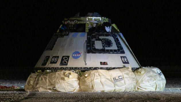 Boeing's CST-100 Starliner space taxi sits on its airbags after landing in New Mexico at the end of its uncrewed test flight in December. (NASA Photo)