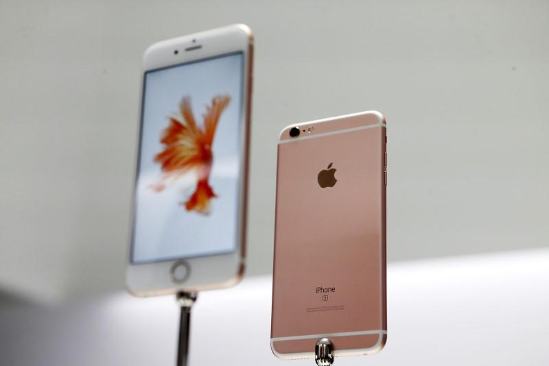 The new Apple iPhone 6S and 6S Plus are displayed during an Apple media event in San Francisco