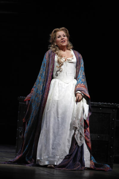 """In this Friday, Oct. 5 2012 photo, Renee Fleming performs as Desdemona during the final dress rehearsal of Guiseppe Verdi's """"Otello"""" at the Metropolitan Opera in New York. (AP Photo/Mary Altaffer)"""