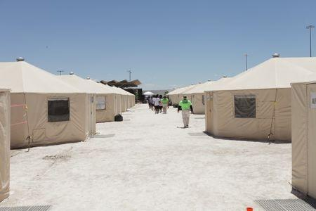 The Tornillo facility, a shelter for children of detained migrants, in Tornillo, Texas, U.S., is seen in this undated handout photo provided by the U.S. Department of Health and Human Services, obtained by Reuters June 25, 2018. U.S. Department of Health and Human Services/Handout via REUTERS/Files