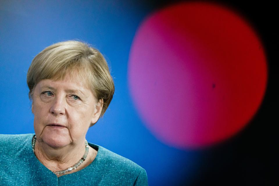 BERLIN, GERMANY - AUGUST 31: German Chancellor Angela Merkel attends a joint press conference with Austrian Chancellor Sebastian Kurz (not in the picture) at the Chancellery on August 31, 2021 in Berlin, Germany. The two leaders are expected to discuss a variety of European issues as well as the ongoing situation in Afghanistan.  (Photo by Clemens Bilan - Pool/Getty Images)