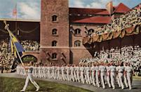 """<p>While the opening ceremony was an event during the Olympics for centuries, it wasn't until later that the ceremony included a parade for each nation's delegates. The 1908 Olympic Games in London was the first time that athletes <a href=""""https://www.topendsports.com/events/summer/traditions/opening.htm#:~:text=It%20has%20come%20a%20long,stadium%20behind%20their%20nations'%20flags."""" rel=""""nofollow noopener"""" target=""""_blank"""" data-ylk=""""slk:marched behind"""" class=""""link rapid-noclick-resp"""">marched behind</a> their nation's flag. </p>"""