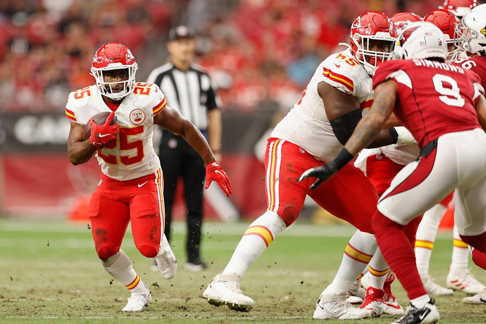 Running back Clyde Edwards-Helaire and other Chiefs starters will likely be playing some on Friday night. (Photo by Christian Petersen/Getty Images)