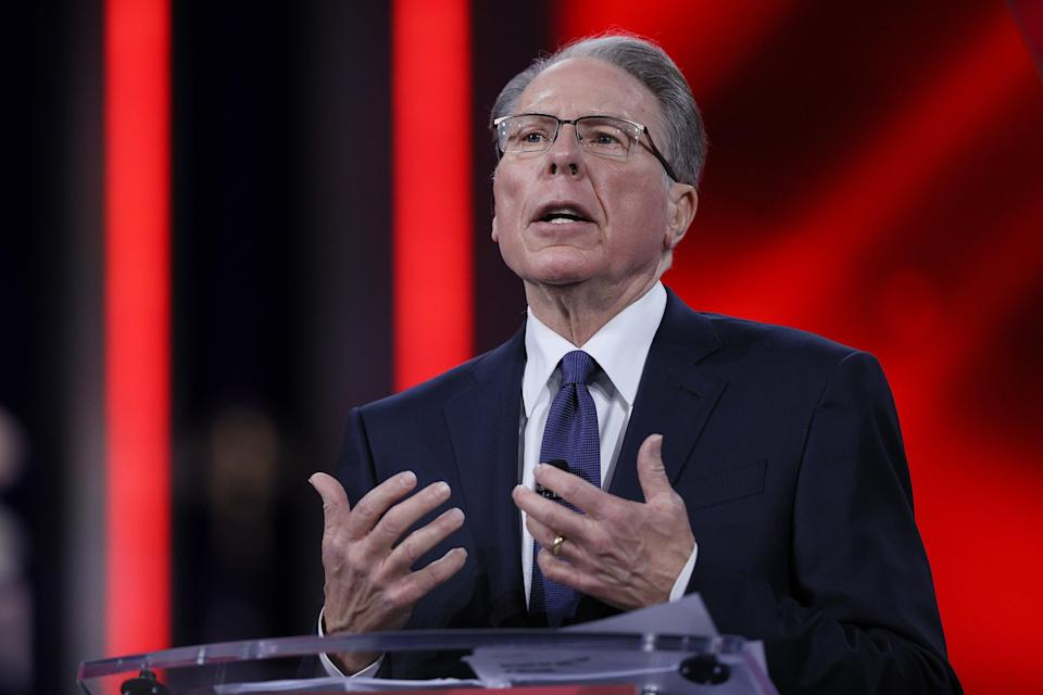 <p>Wayne LaPierre, of the National Rifle Association, addresses the Conservative Political Action Conference held in the Hyatt Regency on February 28, 2021 in Orlando, Florida.</p> (Getty )
