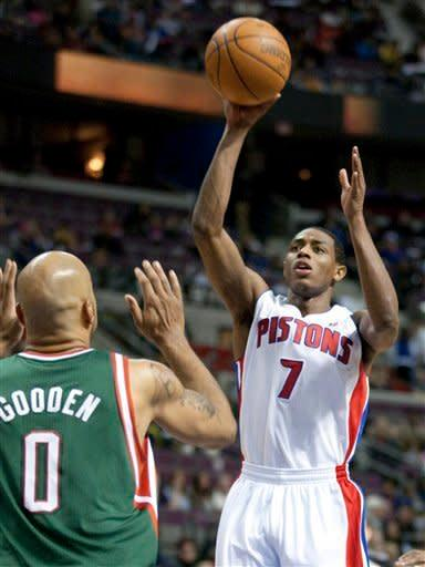 Detroit Pistons' Brandon Knight (7) takes a jump shot against Milwaukee Bucks' Drew Gooden (0) in the second half of an NBA basketball game on Friday, Feb. 3, 2012, in Auburn Hills, Mich. Knight led all players with 26 points as the Pistons won 88-80. (AP Photo/Duane Burleson)