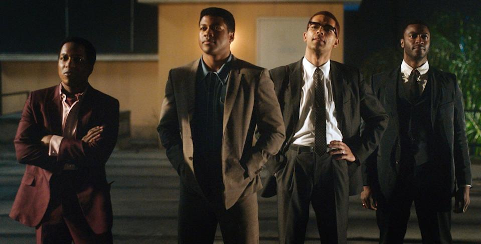 ONE NIGHT IN MIAMI, Leslie Odom Jr. as Sam Cooke, Eli Goree as Cassius Clay, Kingsley Ben-Adir as Malcolm X, Aldis Hodge as Jim Brown, 2020.  Amazon / Courtesy Everett Collection