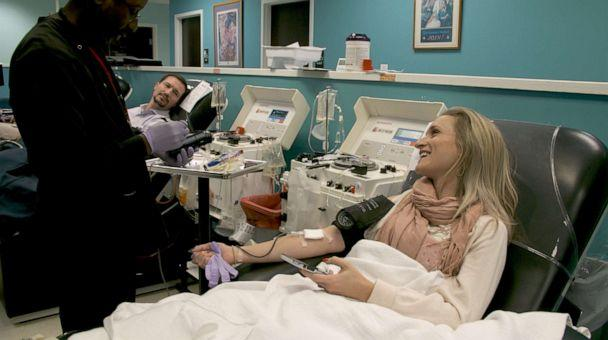 PHOTO: Donors give blood at the Dr. Charles R. Drew Blood Donation Center in Washington, D.C., in an image made from undated handout video. (Brad Zerivitz/American Red Cross)