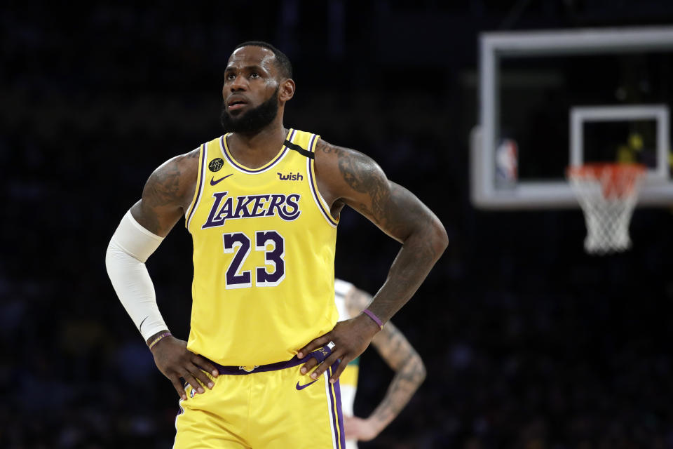 Los Angeles Lakers' LeBron James (23) during the first second of an NBA basketball game against the New Orleans Pelicans Tuesday, Feb. 25, 2020, in Los Angeles. (AP Photo/Marcio Jose Sanchez)
