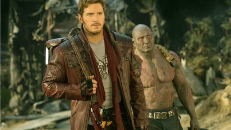 Chris Pratt as Star-Lord with trusty Walkman on belt and Dave Bautista as Drax at his side in 'Guardians of the Galaxy Vol. 2'