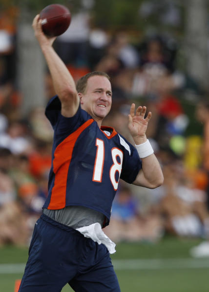 Denver Broncos quarterback Peyton Manning takes part in drills at the team's NFL football training camp in Englewood, Colo., Friday, July 27, 2012. (AP Photo/David Zalubowski)
