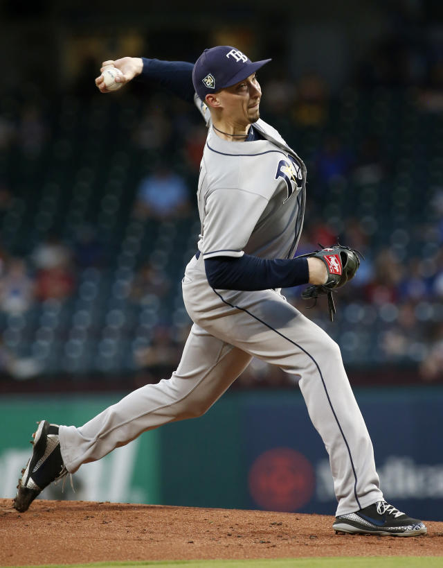 Tampa Bay Rays starting pitcher Blake Snell delivers against the Texas Rangers during the first inning of a baseball game Wednesday, Sept. 18, 2018, in Arlington, Texas. (AP Photo/Mike Stone)