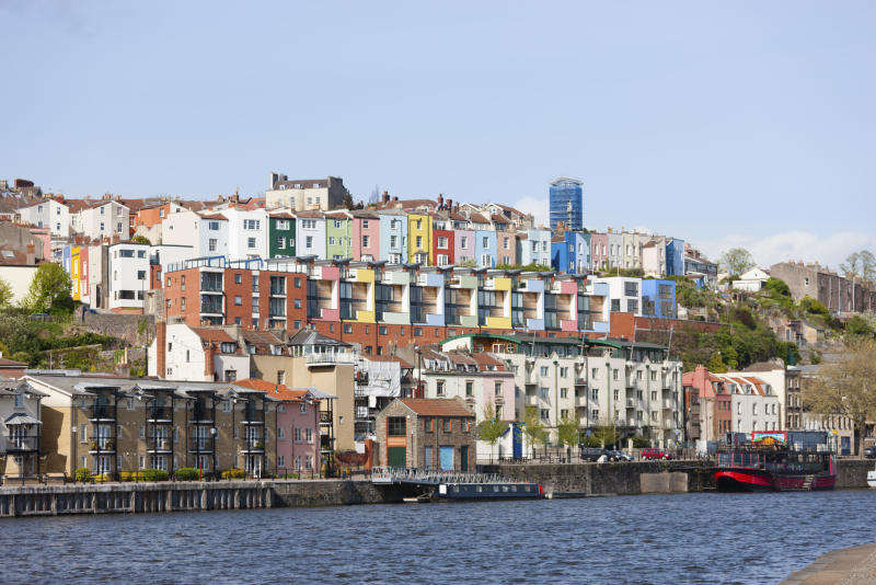 Colourful harbourside houses at Bristol docks. [Photo: Getty]