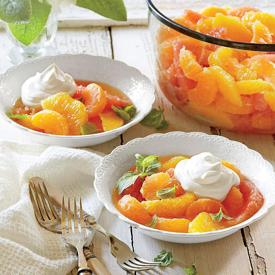 """<p>The original <a href=""""https://www.myrecipes.com/course/dessert-recipes/best-ambrosia-recipes"""" rel=""""nofollow noopener"""" target=""""_blank"""" data-ylk=""""slk:ambrosia recipe"""" class=""""link rapid-noclick-resp"""">ambrosia recipe</a> is simply a layering of orange slices, sugar, and toasted unsweetened coconut. Over the years, folks began to add pineapple, maraschino cherries, and whipped cream to create more of a fruit salad, but the name stuck.</p>"""