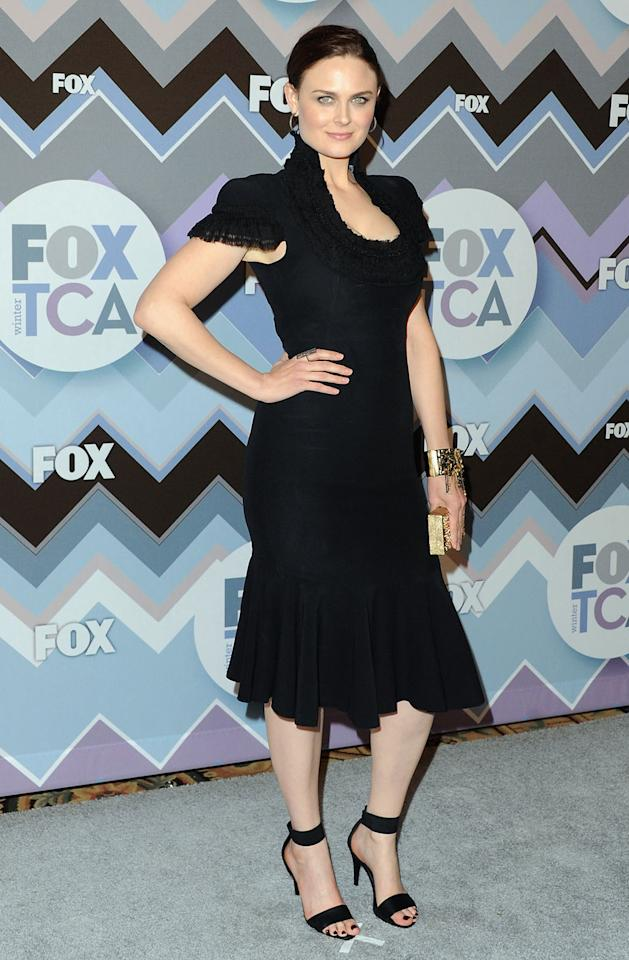 Emily Deschanel arrives at the 2013 Winter TCA FOX All-Star Party at The Langham Huntington Hotel and Spa on January 8, 2013 in Pasadena, California.