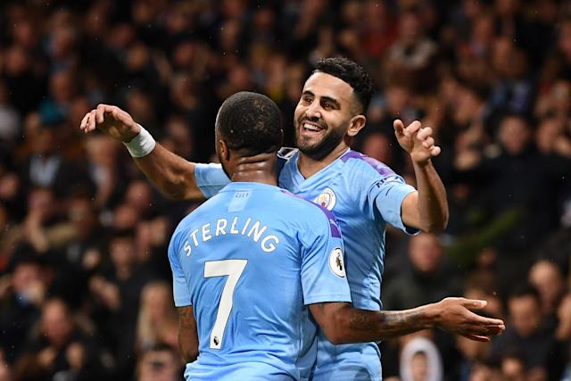 Riyad Mahrez (right) scored Manchester City's winner on Saturday against Chelsea. (Laurence Griffiths/Getty)
