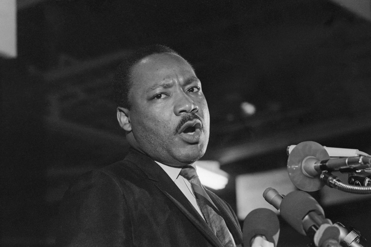 <p>Caught in a somber mood, Dr. Martin Luther King addresses some 2,000 people at the Mason Temple in Memphis, Tenn., April 3, 1968. (Photo: Bettmann/Getty Images </p>