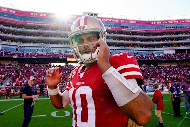 SANTA CLARA, CALIFORNIA - SEPTEMBER 22: Jimmy Garoppolo #10 of the San Francisco 49ers walks off the field after beating the Pittsburgh Steelers at Levi's Stadium on September 22, 2019 in Santa Clara, California. (Photo by Daniel Shirey/Getty Images)