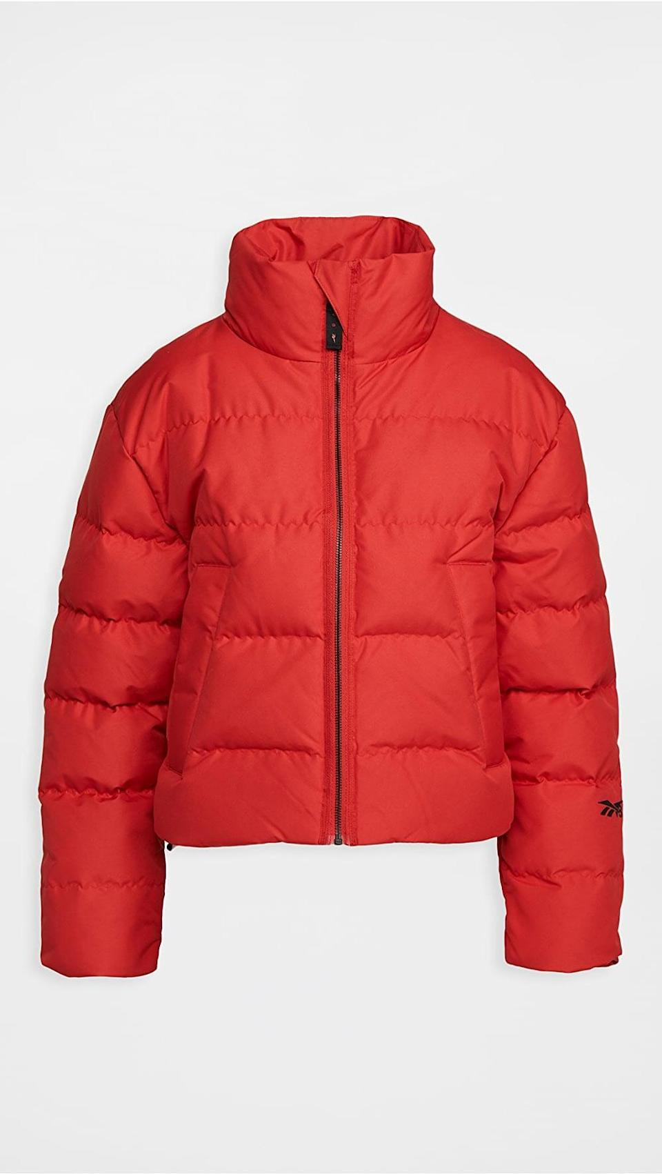 <p>Stay warm in this essential <span>Reebok x Victoria Beckham Cropped Puffer</span> ($280).</p>