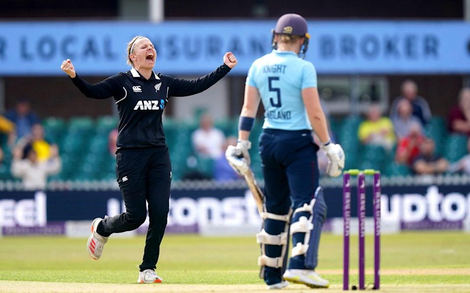 New Zealand's Lea Tahuhu (left) celebrates after taking the wicket of England's Heather Knight during the third ODI at Uptonsteel County Ground, Leicester. - PA