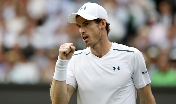 Andy Murray reacts after winning a point on the seventh day of the 2017 Wimbledon Championships on July 10. (Photo: ADRIAN DENNIS via Getty Images)