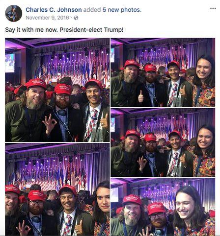 Far-right extremists Pax Dickinson and Chuck Johnson celebrate Donald Trump's election in 2016 with Hoan Ton-That. (Photo: )