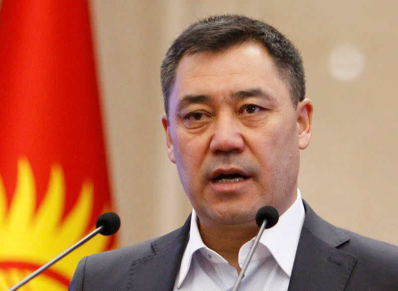 FILE PHOTO: Kyrgyzstan's Prime Minister Japarov attends a session of parliament in Bishkek
