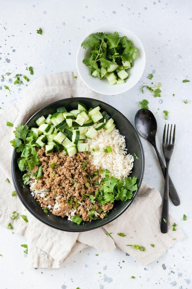 """<p>When ground pork is simmered with ginger, soy, and garlic, it transforms into a deliciously crispy and savory dish. Serve it over rice with refreshing cucumbers and herbs. </p><p><strong>Get the recipe at <a href=""""https://www.jennifermeyering.com/ginger-pork-and-rice-bowls/"""" rel=""""nofollow noopener"""" target=""""_blank"""" data-ylk=""""slk:Jennifer Meyering"""" class=""""link rapid-noclick-resp"""">Jennifer Meyering</a>. </strong></p><p><a class=""""link rapid-noclick-resp"""" href=""""https://go.redirectingat.com?id=74968X1596630&url=https%3A%2F%2Fwww.walmart.com%2Fsearch%2F%3Fquery%3Dpioneer%2Bwoman%2Bbowls&sref=https%3A%2F%2Fwww.thepioneerwoman.com%2Ffood-cooking%2Frecipes%2Fg37146272%2Fground-pork-recipes%2F"""" rel=""""nofollow noopener"""" target=""""_blank"""" data-ylk=""""slk:SHOP BOWLS"""">SHOP BOWLS</a></p>"""
