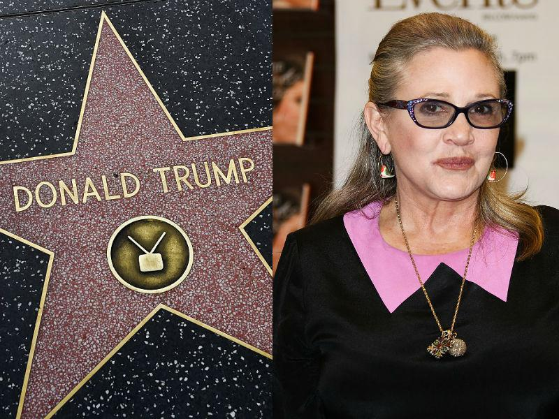People on Twitter are suggesting that Donald Trump's Walk of Fame star gets replaced with one for Carrie Fisher. (Photo: Getty Images)