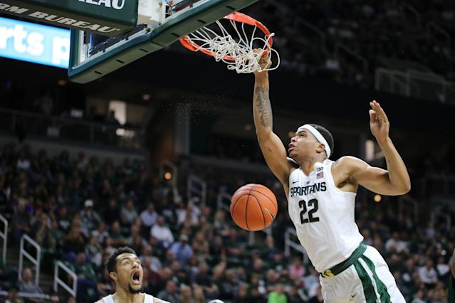 <p>The Big Ten's freshman of the year is the highest-scoring rookie (16.6) that coach Tom Izzo has ever had with the Spartans, answering the bell despite a midseason ankle injury that cost him six games. The 6-foot-7 former McDonald's All-American is a force in the paint (8.6 rpg, 1.6 bpg) and from the perimeter (40.8 percent from 3), while showing tremendous passing ability. </p>