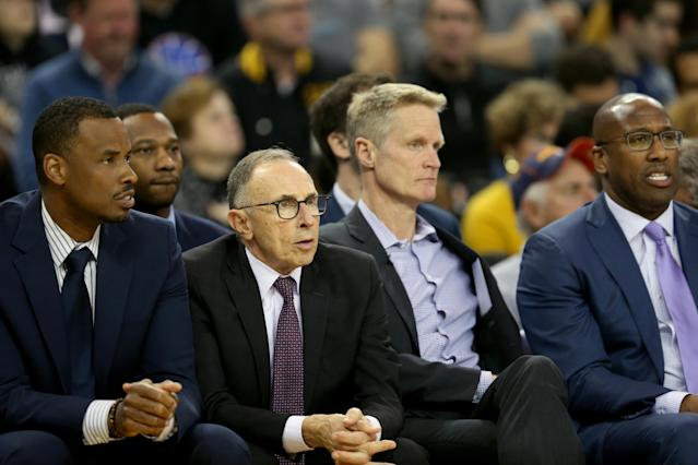 "Ron Adams (second from left) will be coaching a very different <a class=""link rapid-noclick-resp"" href=""/nba/teams/golden-state/"" data-ylk=""slk:Warriors"">Warriors</a> team next season. (Getty Images)"