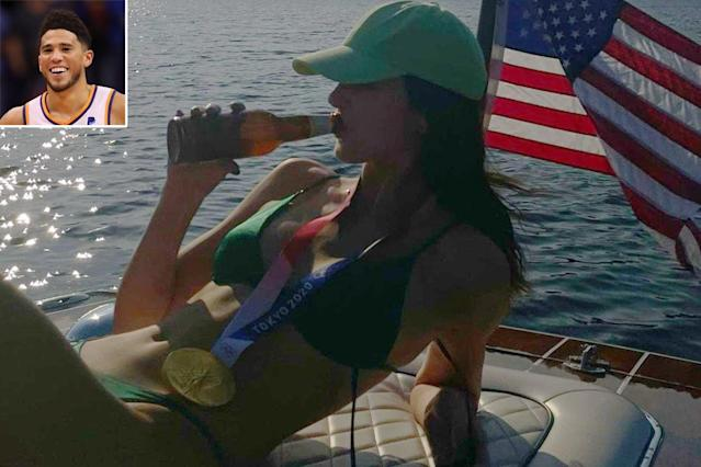 Kendall Jenner Wears Boyfriend Devin Booker's Olympic Gold Medal During  Lake Getaway