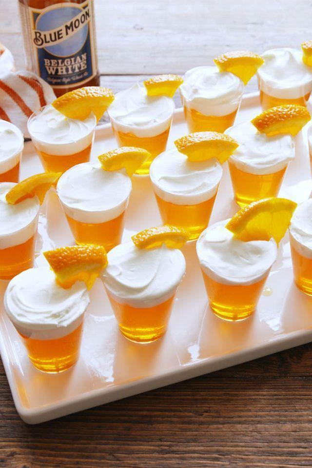 """<p>No party is complete without a tray of Jell-O shots. These beer-themed ones will have everyone saying """"aw"""" and reaching for their cameras all at the same time. </p><p><em><a href=""""https://www.delish.com/cooking/recipe-ideas/recipes/a55183/blue-moon-jello-shots-recipe/"""" rel=""""nofollow noopener"""" target=""""_blank"""" data-ylk=""""slk:Get the recipe at Delish »"""" class=""""link rapid-noclick-resp"""">Get the recipe at Delish »</a></em></p><p><strong>RELATED: </strong><a href=""""https://www.goodhousekeeping.com/food-products/g33010627/best-beer-brands/"""" rel=""""nofollow noopener"""" target=""""_blank"""" data-ylk=""""slk:15 Best Beers to Buy and Drink All Season Long"""" class=""""link rapid-noclick-resp"""">15 Best Beers to Buy and Drink All Season Long</a></p>"""