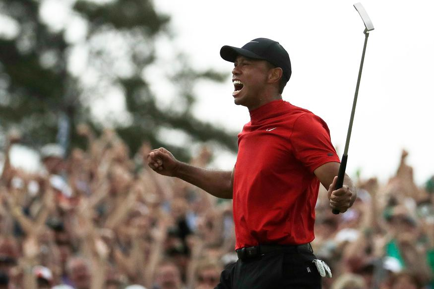 Tiger Woods reacts as he wins the Masters golf tournament in Augusta, Georgia. (Image: AP)