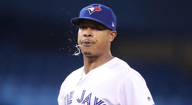 Toronto's Marcus Stroman was quite under the weather while pitching against the San Diego Padres on Sunday. (Photo by Tom Szczerbowski/Getty Images)
