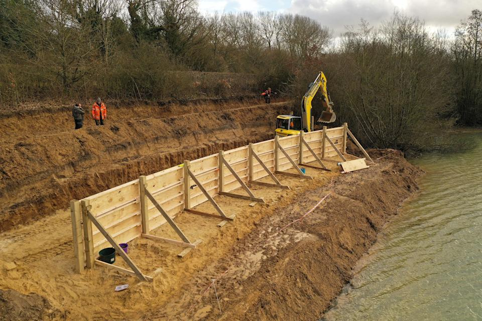 Construction involved a 'giant bucket mould made from wooden boards' (Surrey Wildlife Trust/Sand in Your Eye/PA)
