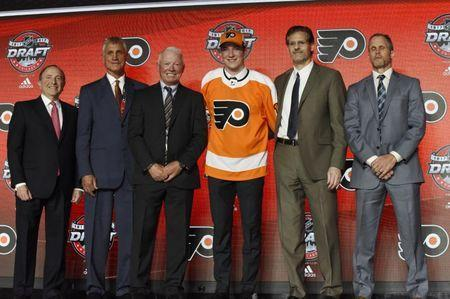 June 23, 2017; Chicago, IL, USA; Nolan Patrick poses for photos after being selected as the number two overall pick to the Philadelphia Flyers in the first round of the 2017 NHL Draft at the United Center. Mandatory Credit: David Banks-USA TODAY Sports