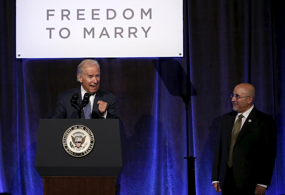 Vice President Joe Biden speaking at a Freedom to Marry gala celebrating the legalization of same-sex marriage nationwide, in 2015. At right is Freedom to Marry founder and President Evan Wolfson. (Photo: Reuters/Mike Segar)