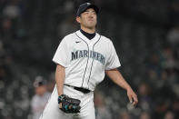Seattle Mariners starting pitcher Yusei Kikuchi reacts on the mound during the first inning of a baseball game against the Detroit Tigers, Monday, May 17, 2021, in Seattle. The Tigers won 4-1. (AP Photo/Ted S. Warren)