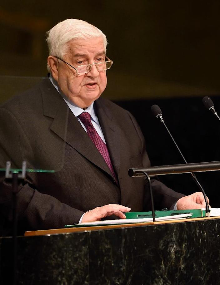 Syria's Foreign Minister Walid Muallem speaks during the 70th session of the United Nations General Assembly October 2, 2015 at the United Nations in New York (AFP Photo/Don Emmert )