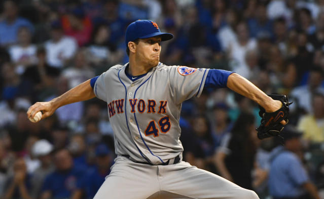 "<a class=""link rapid-noclick-resp"" href=""/mlb/players/9701/"" data-ylk=""slk:Jacob deGrom"">Jacob deGrom</a> set a new mark for MLB excellence on the mound, having pitched 25 straight games allowing three runs or fewer. (AP)"