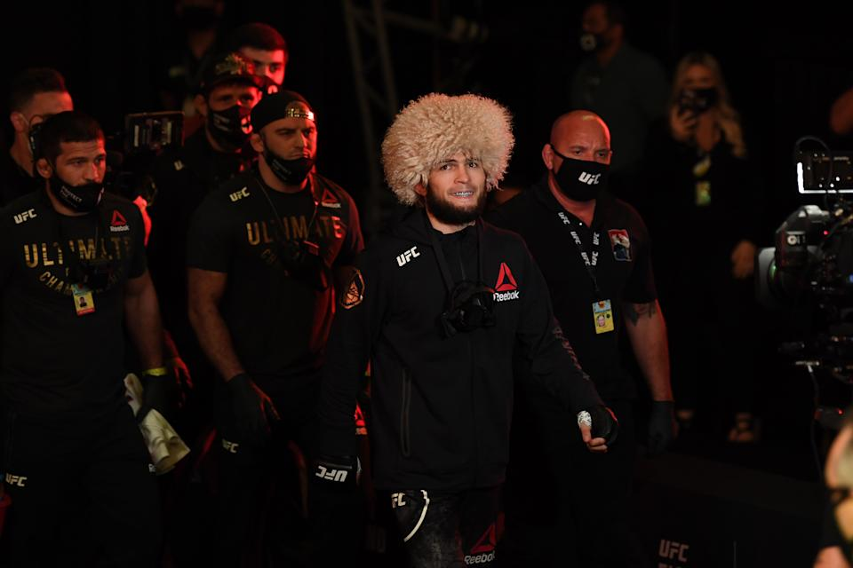 ABU DHABI, UNITED ARAB EMIRATES - OCTOBER 25:  Khabib Nurmagomedov of Russia walks to the Octagon prior to his lightweight title bout against Justin Gaethje during the UFC 254 event on October 25, 2020 on UFC Fight Island, Abu Dhabi, United Arab Emirates. (Photo by Josh Hedges/Zuffa LLC via Getty Images)