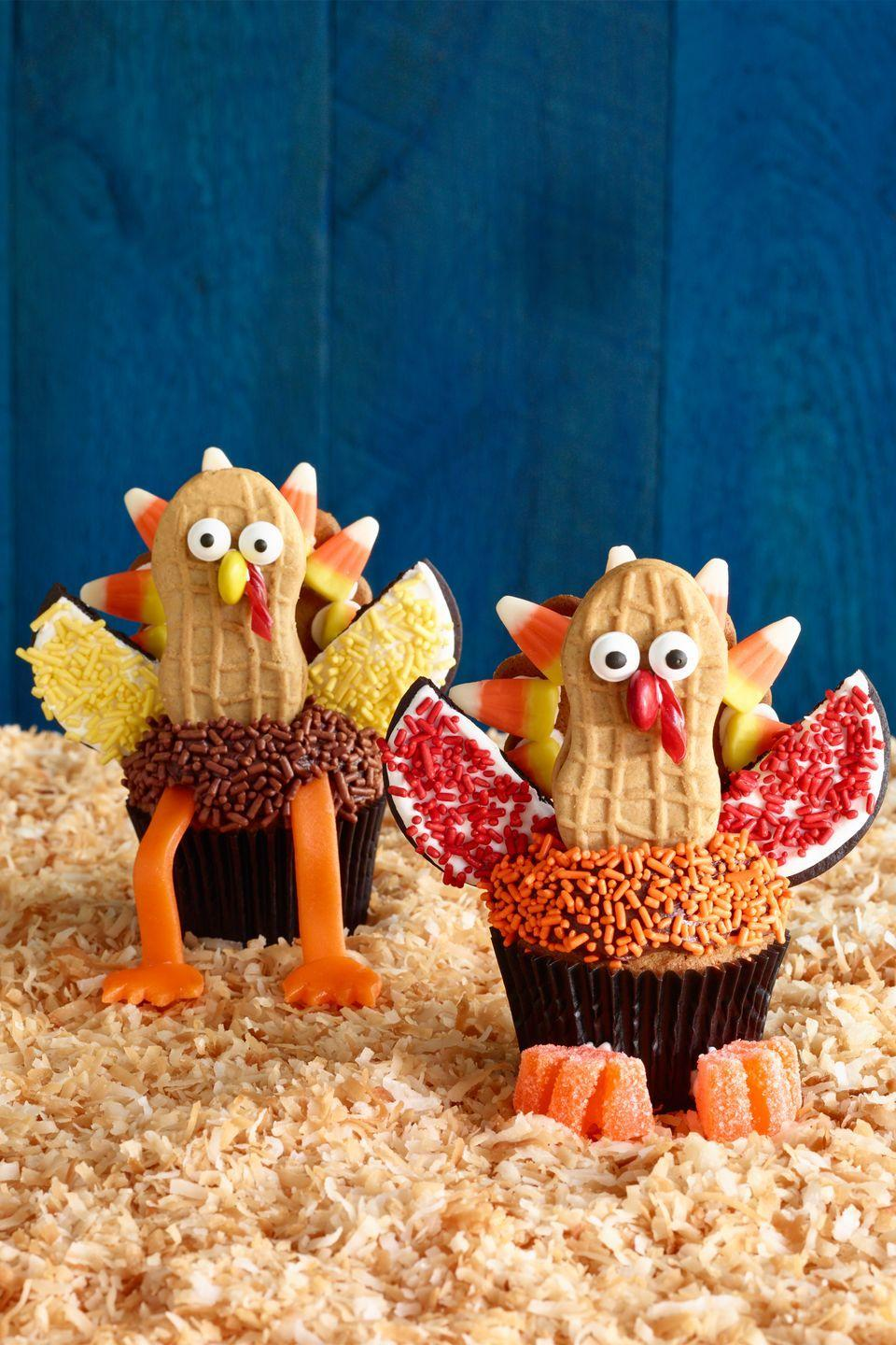 "<p>These Turkey Day treats are almost too cute to gobble up.</p><p><strong><em><a href=""https://www.womansday.com/food-recipes/food-drinks/recipes/a12466/turkey-cupcakes-recipe-wdy1114/"" rel=""nofollow noopener"" target=""_blank"" data-ylk=""slk:Get the Turkey Cupcakes recipe."" class=""link rapid-noclick-resp"">Get the Turkey Cupcakes recipe. </a></em></strong></p>"