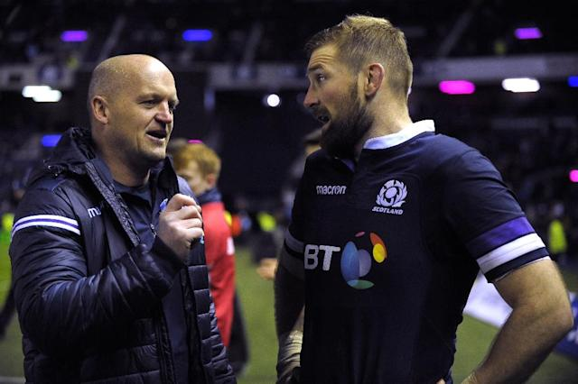 Scotland's flanker John Barclay (R) and head coach Gregor Townsend chat after their Autumn Int'l rugby union Test match against Australia, at Murrayfield stadium in Edinburgh, in November 2017 (AFP Photo/Andy BUCHANAN)
