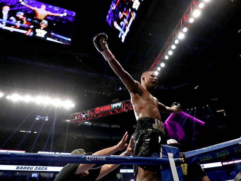 Badou Jack celebrates winning the WBA title after defeating Nathan Cleverly (Getty)
