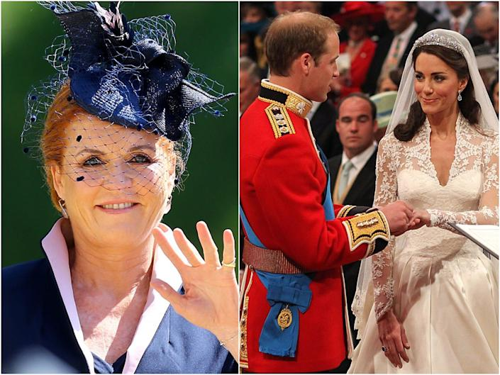 At left, Sarah Ferguson in a blue hat and fishnet veil. At right, Prince William and Kate Middleton at their wedding in 2011.