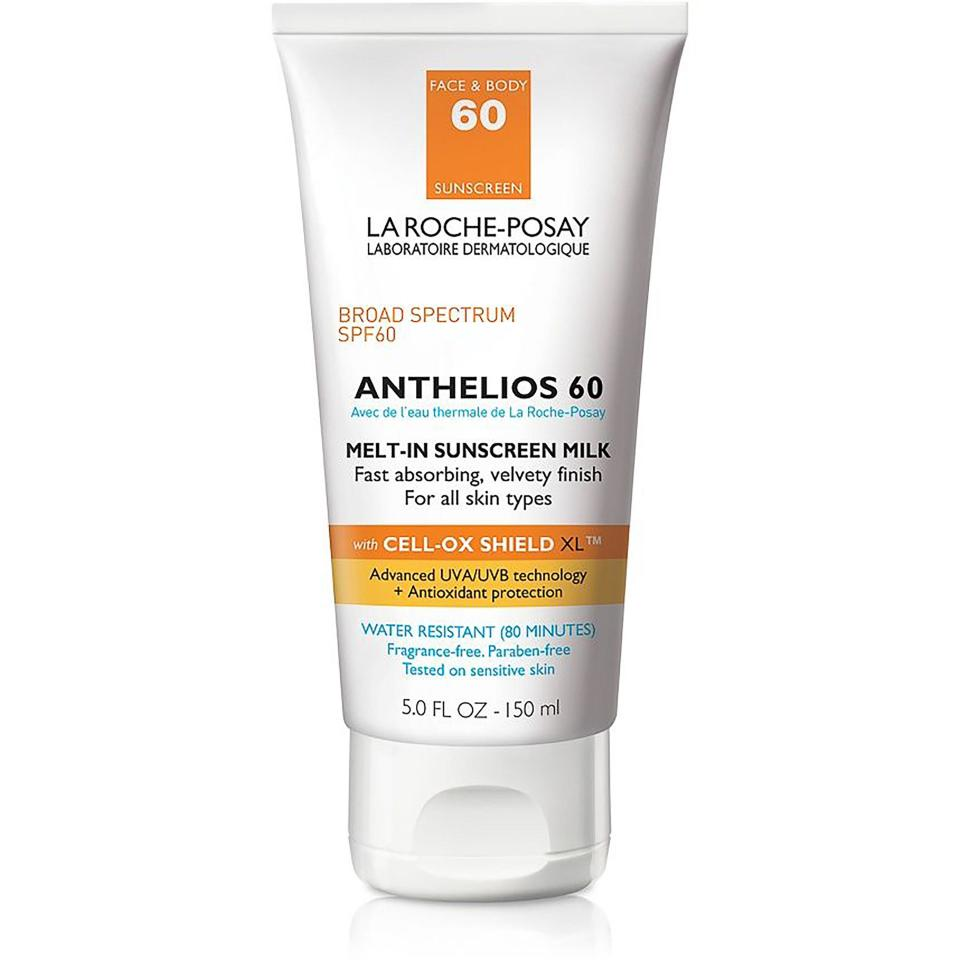 """<p>We love La Roche-Posay's Anthelios 60 (a <a href=""""https://www.allure.com/gallery/best-of-beauty-skin-care-product-winners?mbid=synd_yahoo_rss"""" rel=""""nofollow noopener"""" target=""""_blank"""" data-ylk=""""slk:Best of Beauty winner"""" class=""""link rapid-noclick-resp"""">Best of Beauty winner</a>) for its comfortable wear (it doesn't slick off, even in the warmest conditions), along with the fact that it won't clog pores.</p> <p><strong>$20</strong> (<a href=""""https://shop-links.co/1636961987899407540"""" rel=""""nofollow noopener"""" target=""""_blank"""" data-ylk=""""slk:Shop Now"""" class=""""link rapid-noclick-resp"""">Shop Now</a>)</p>"""