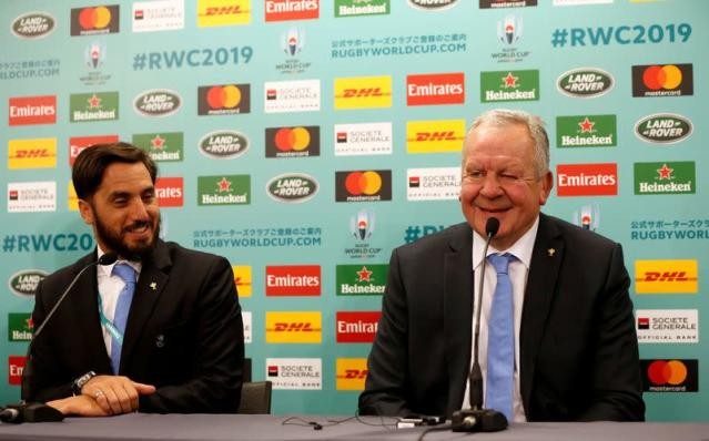 FILE PHOTO: World Rugby chairman Beaumont and vice-chairman Pichot attend a news conference about the 2019 Rugby World Cup