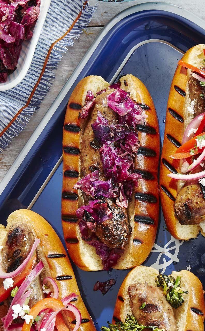 """<p>Toss grilled red cabbage with tangy horseradish for a slaw that's perfect on grilled hot dogs or sausages.<a href=""""https://www.countryliving.com/diy-crafts/a28195021/grilled-horseradish-slaw-recipe/"""" rel=""""nofollow noopener"""" target=""""_blank"""" data-ylk=""""slk:"""" class=""""link rapid-noclick-resp""""><br></a></p><p><strong><a href=""""https://www.countryliving.com/diy-crafts/a28195021/grilled-horseradish-slaw-recipe/"""" rel=""""nofollow noopener"""" target=""""_blank"""" data-ylk=""""slk:Get the recipe"""" class=""""link rapid-noclick-resp"""">Get the recipe</a>.</strong></p>"""