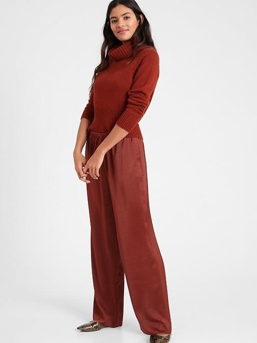 <p>The <span>Banana Republic Wide-Leg Satin Pull-On Pant</span> ($49-$71, originally $90) is as silky as pajamas but looks so polished when you wear it out, too.</p>